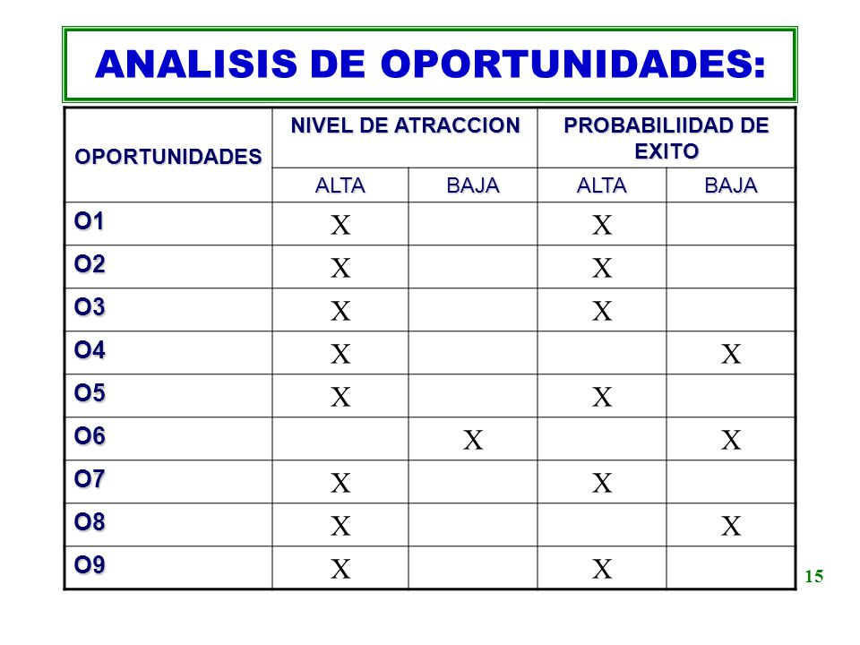 ANALISIS DE OPORTUNIDADES: