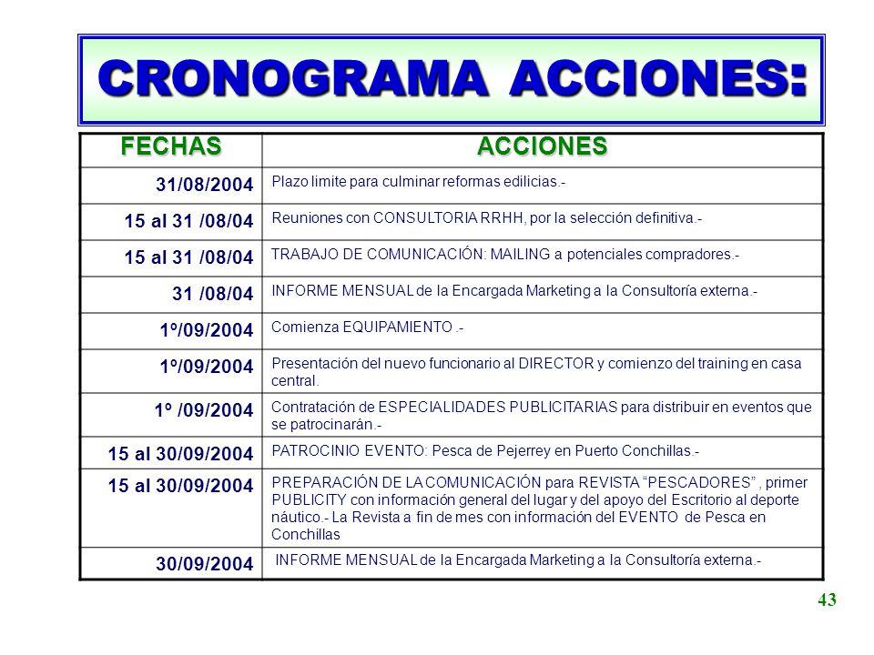 CRONOGRAMA ACCIONES: FECHAS ACCIONES 31/08/2004 15 al 31 /08/04