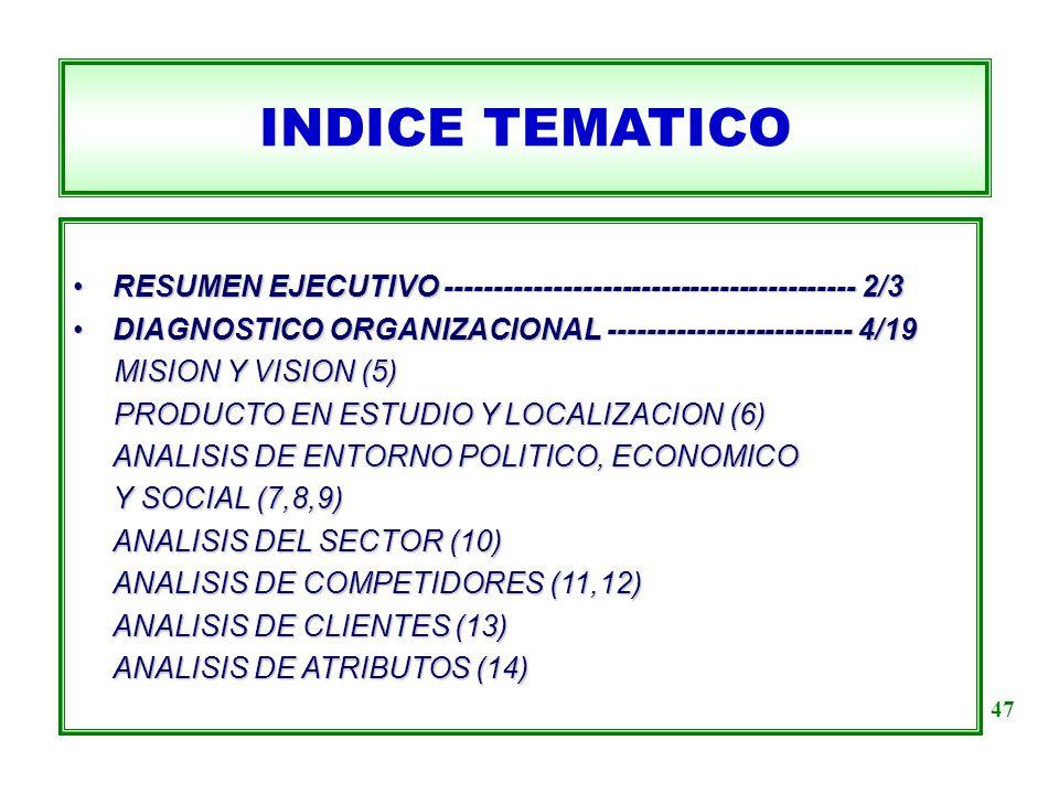 INDICE TEMATICO RESUMEN EJECUTIVO ------------------------------------------ 2/3. DIAGNOSTICO ORGANIZACIONAL ------------------------- 4/19.