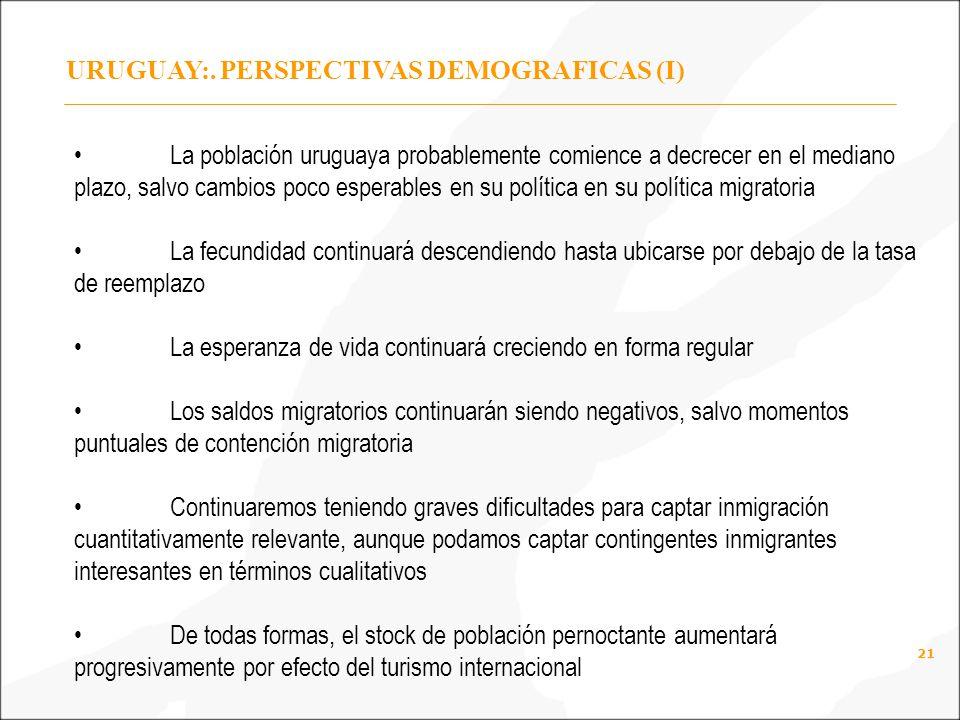 URUGUAY:. PERSPECTIVAS DEMOGRAFICAS (I)