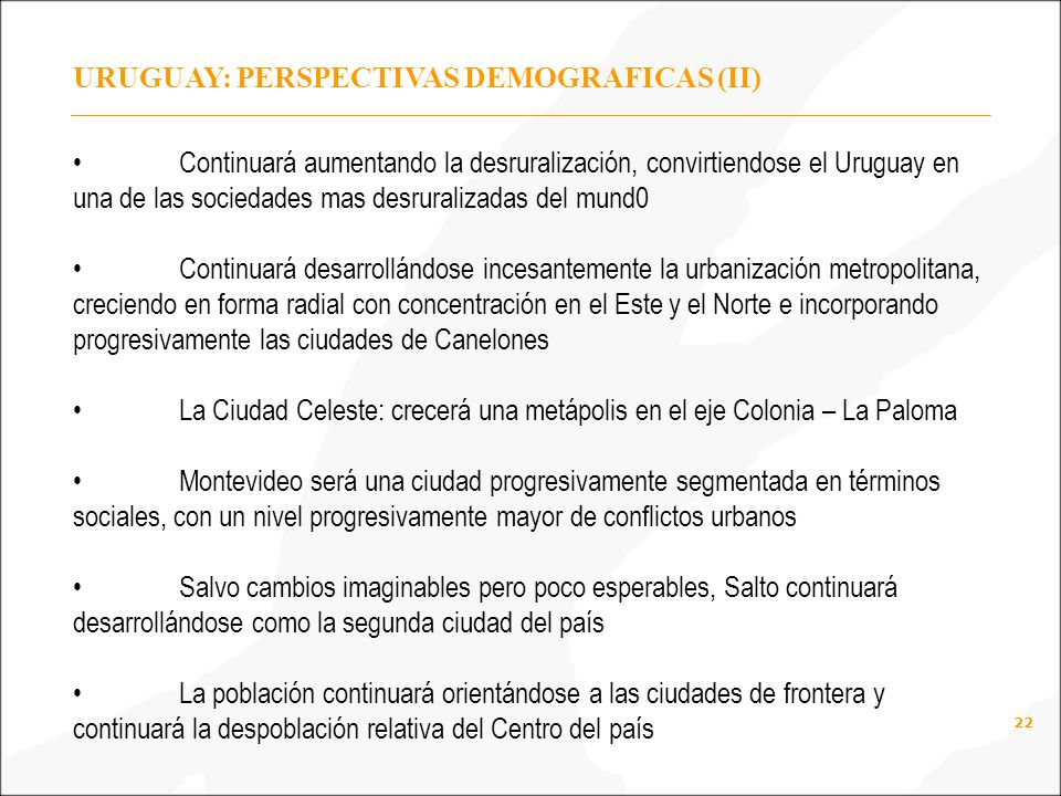 URUGUAY: PERSPECTIVAS DEMOGRAFICAS (II)
