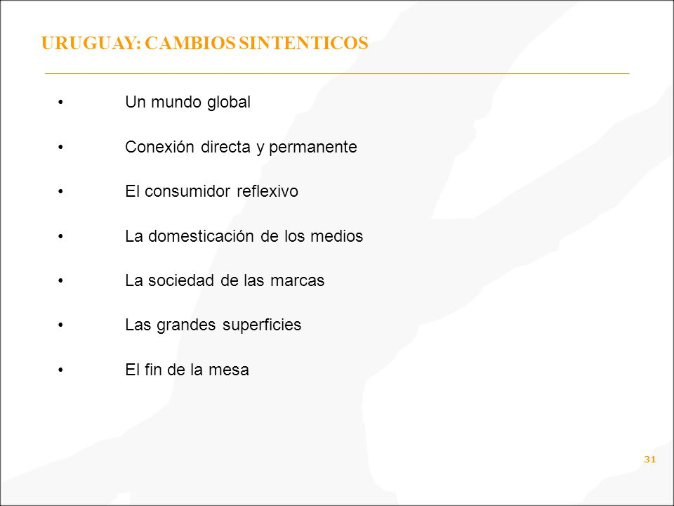 URUGUAY: CAMBIOS SINTENTICOS