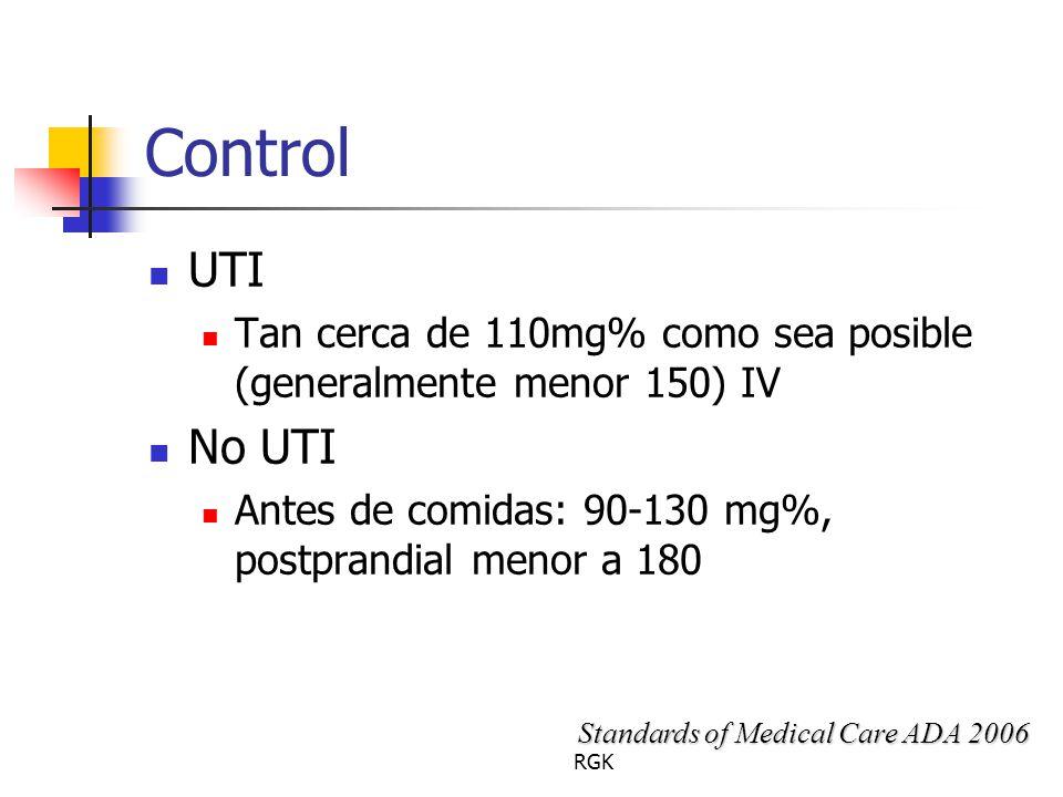 Control UTI. Tan cerca de 110mg% como sea posible (generalmente menor 150) IV. No UTI. Antes de comidas: 90-130 mg%, postprandial menor a 180.