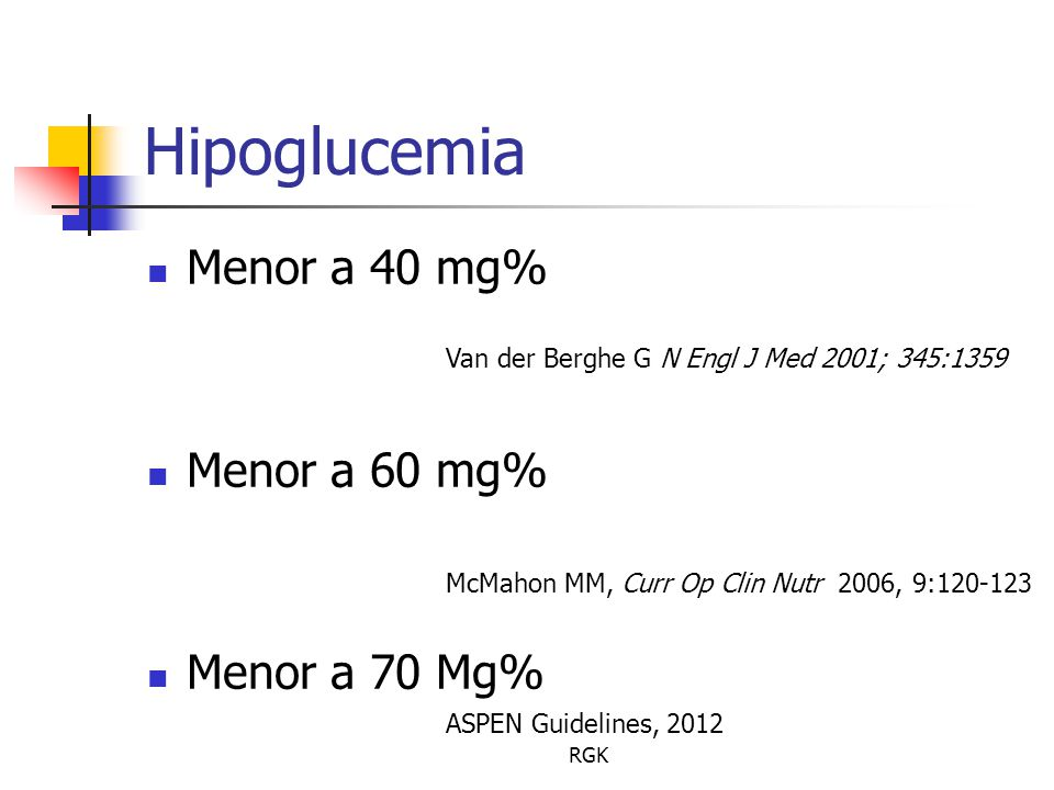Hipoglucemia Menor a 40 mg% Menor a 60 mg% Menor a 70 Mg%