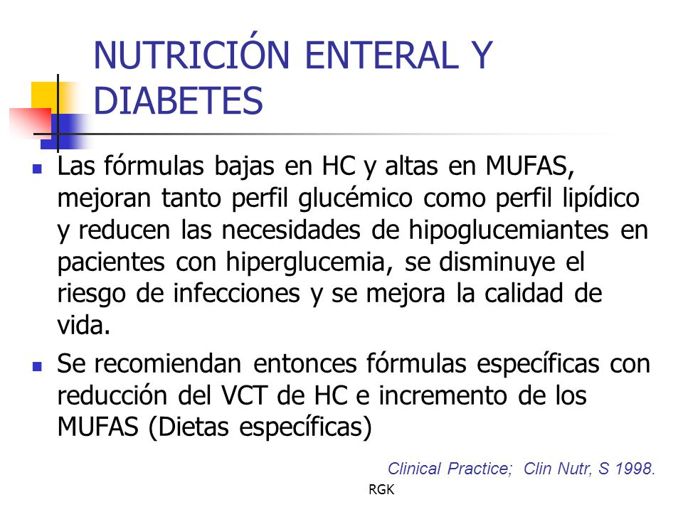 NUTRICIÓN ENTERAL Y DIABETES