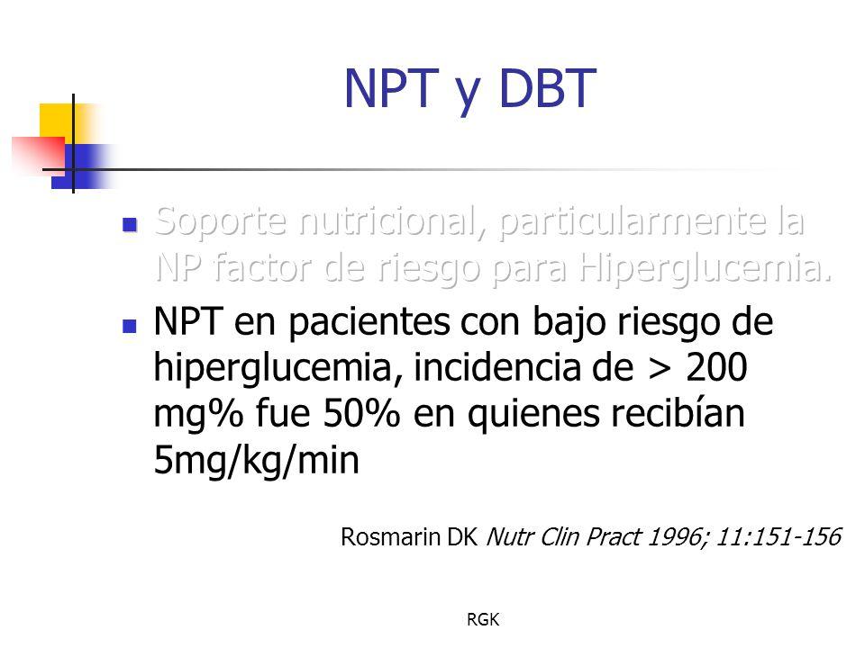 NPT y DBT Soporte nutricional, particularmente la NP factor de riesgo para Hiperglucemia.