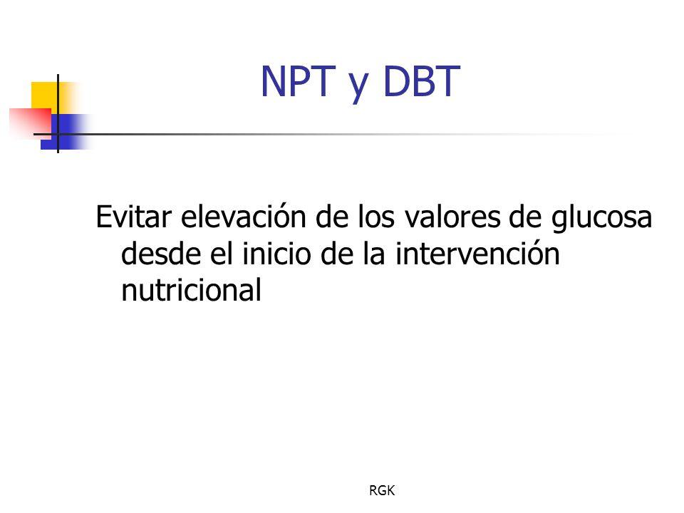 NPT y DBT Evitar elevación de los valores de glucosa desde el inicio de la intervención nutricional.