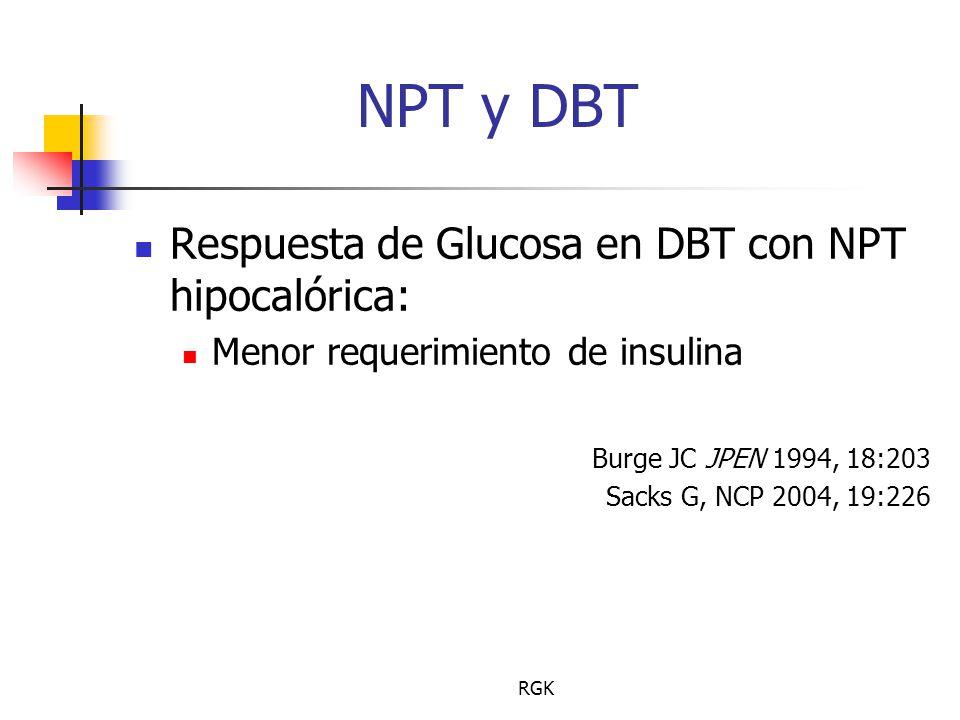 NPT y DBT Respuesta de Glucosa en DBT con NPT hipocalórica: