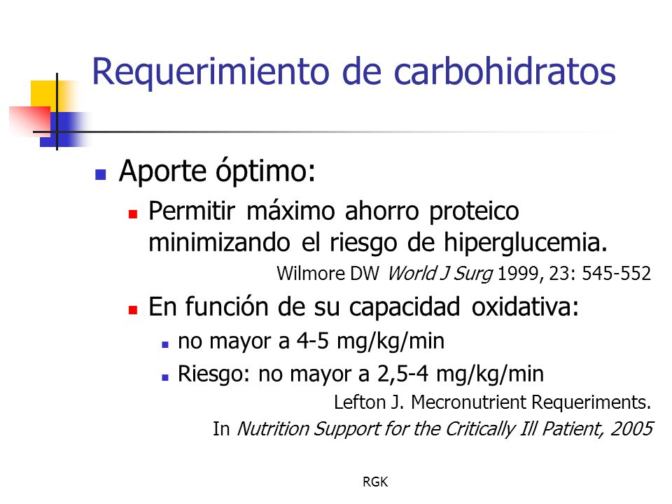 Requerimiento de carbohidratos