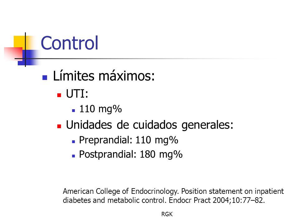 Control Límites máximos: UTI: Unidades de cuidados generales: 110 mg%