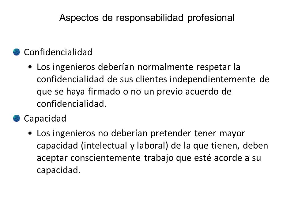 Aspectos de responsabilidad profesional