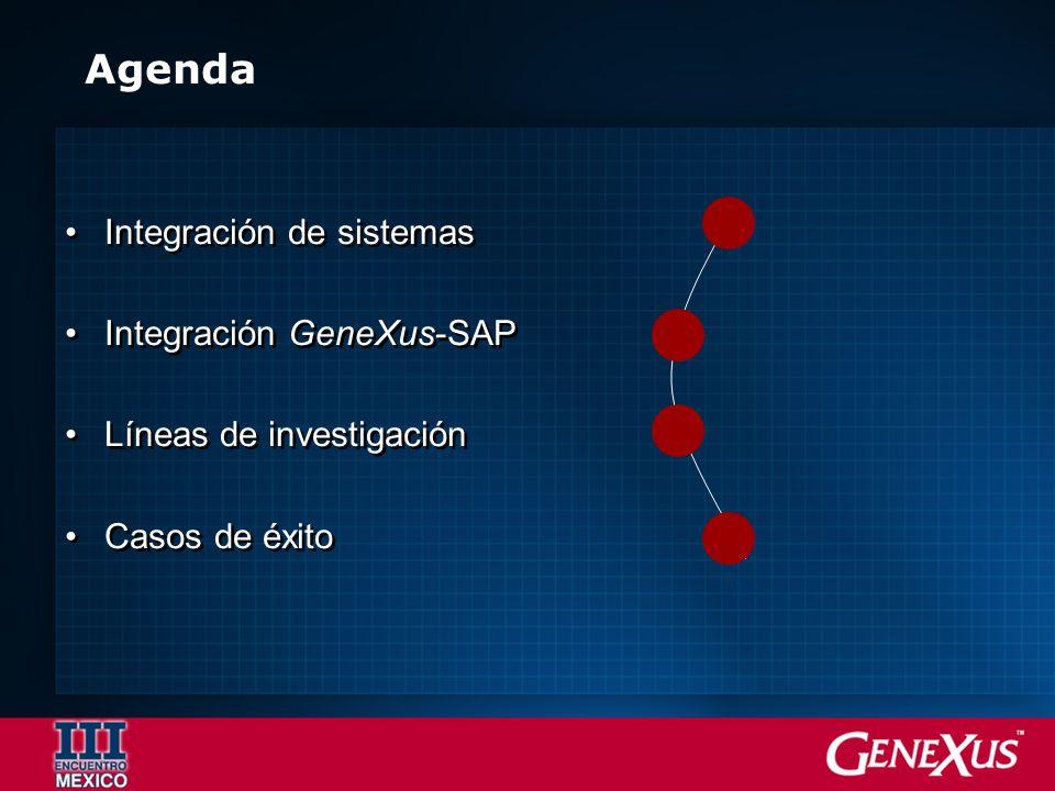 Agenda Integración de sistemas Integración GeneXus-SAP