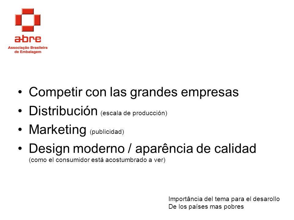 Competir con las grandes empresas Distribución (escala de producción)