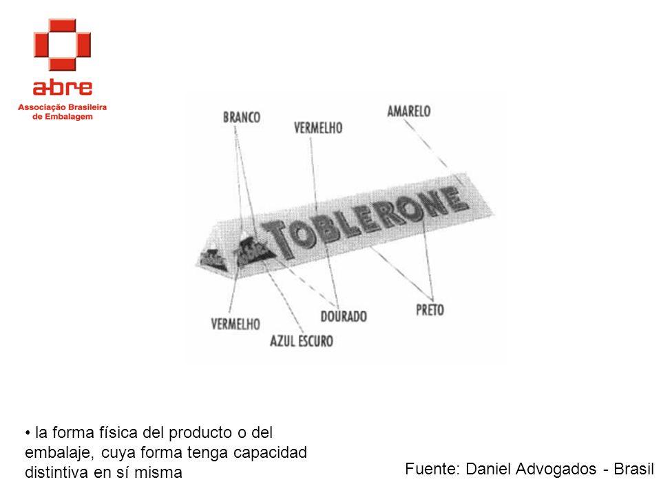 la forma física del producto o del embalaje, cuya forma tenga capacidad distintiva en sí misma