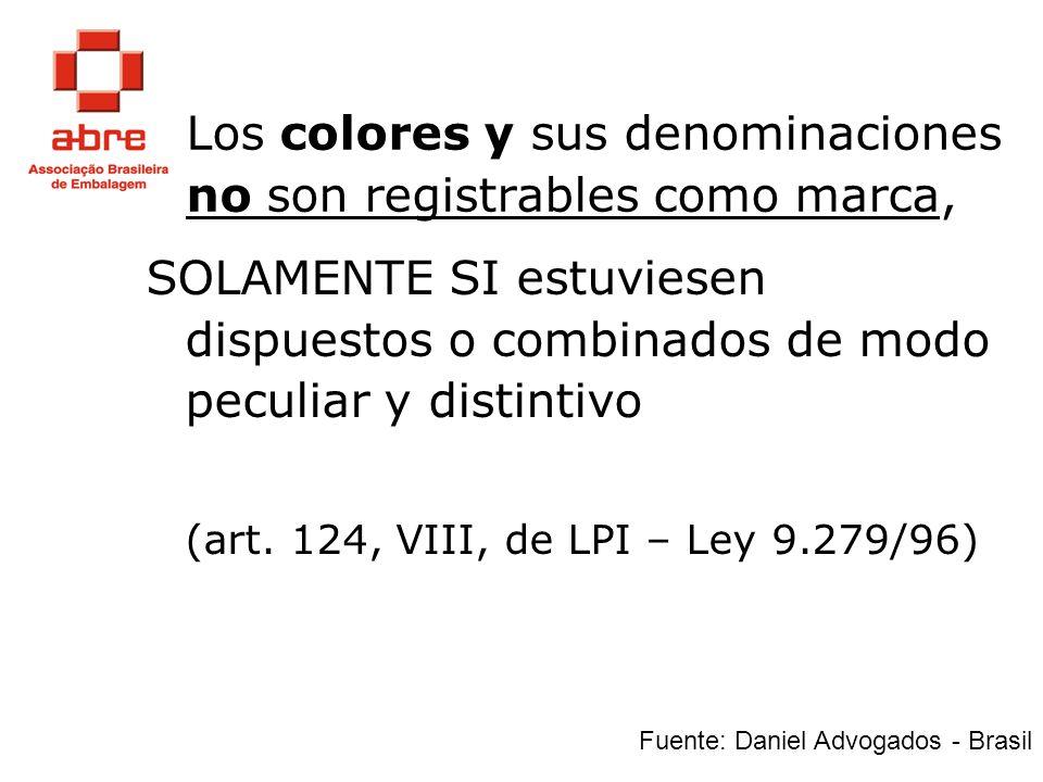 Los colores y sus denominaciones no son registrables como marca,