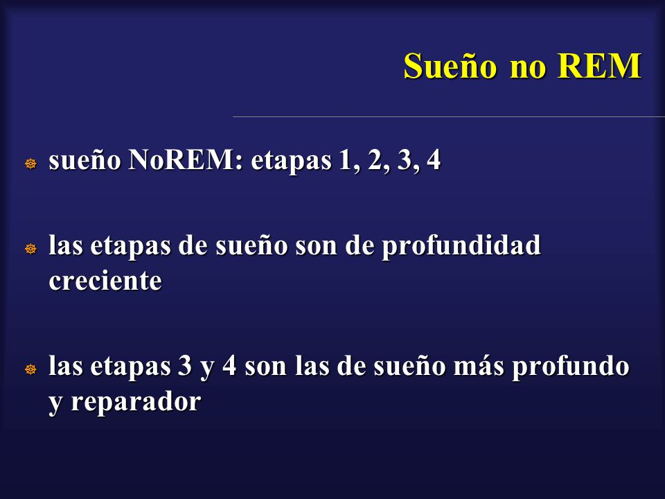 Sueño no REM sueño NoREM: etapas 1, 2, 3, 4