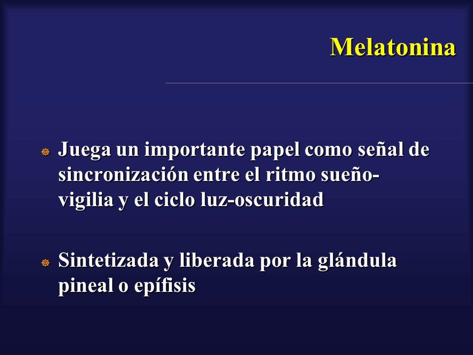 Melatonina Juega un importante papel como señal de sincronización entre el ritmo sueño-vigilia y el ciclo luz-oscuridad.
