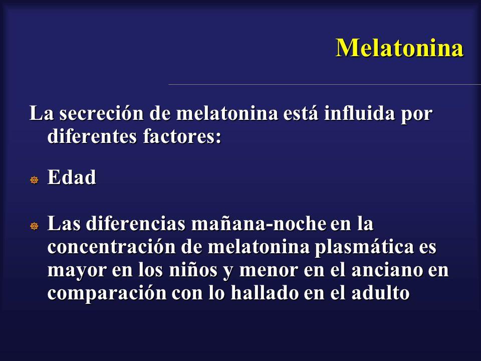 Melatonina La secreción de melatonina está influida por diferentes factores: Edad.