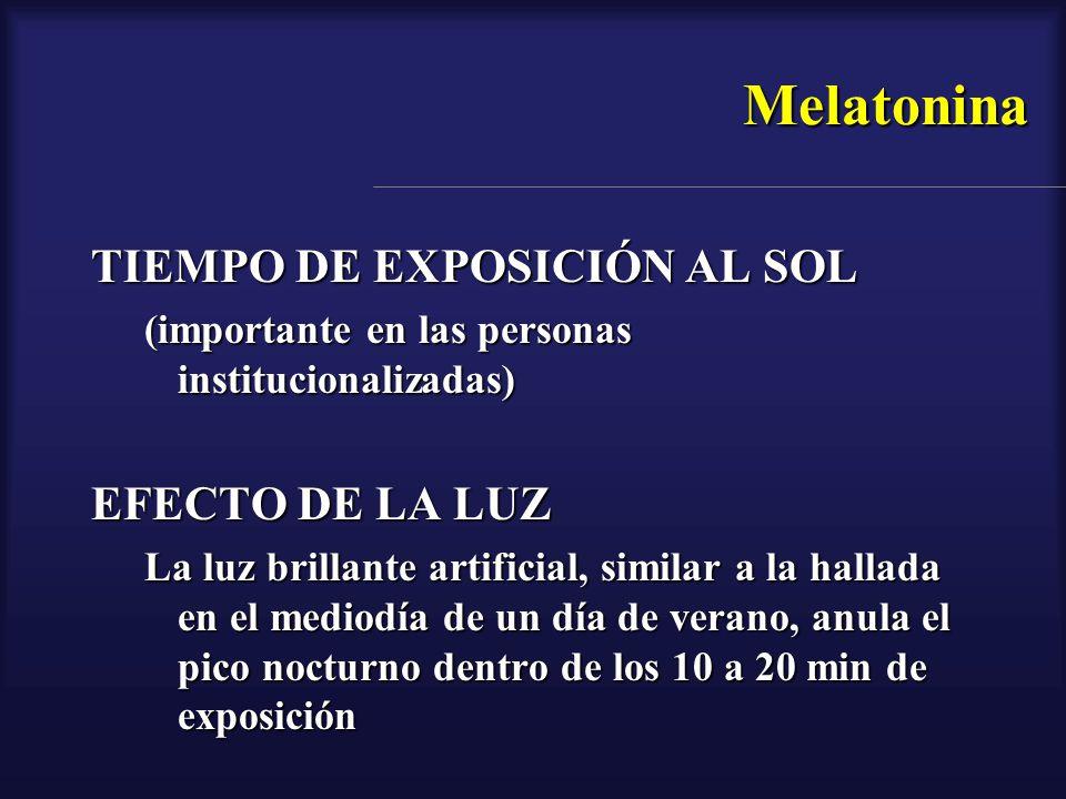Melatonina TIEMPO DE EXPOSICIÓN AL SOL EFECTO DE LA LUZ