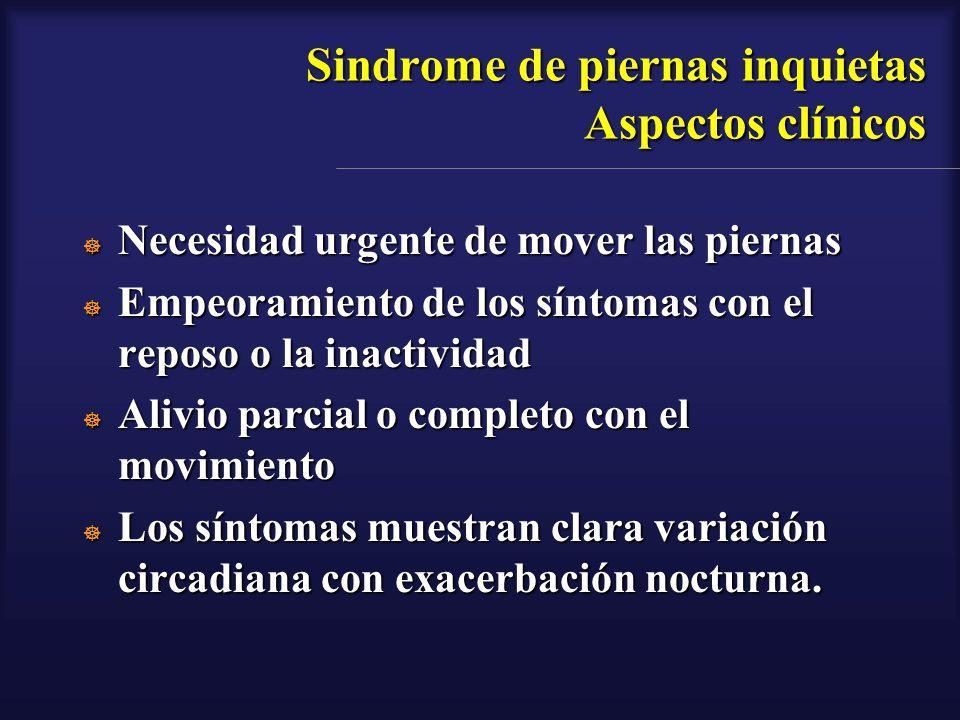Sindrome de piernas inquietas Aspectos clínicos