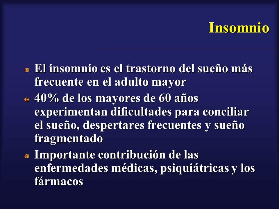 Insomnio El insomnio es el trastorno del sueño más frecuente en el adulto mayor.