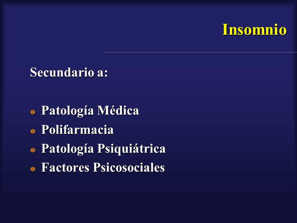 Insomnio Secundario a: Patología Médica Polifarmacia