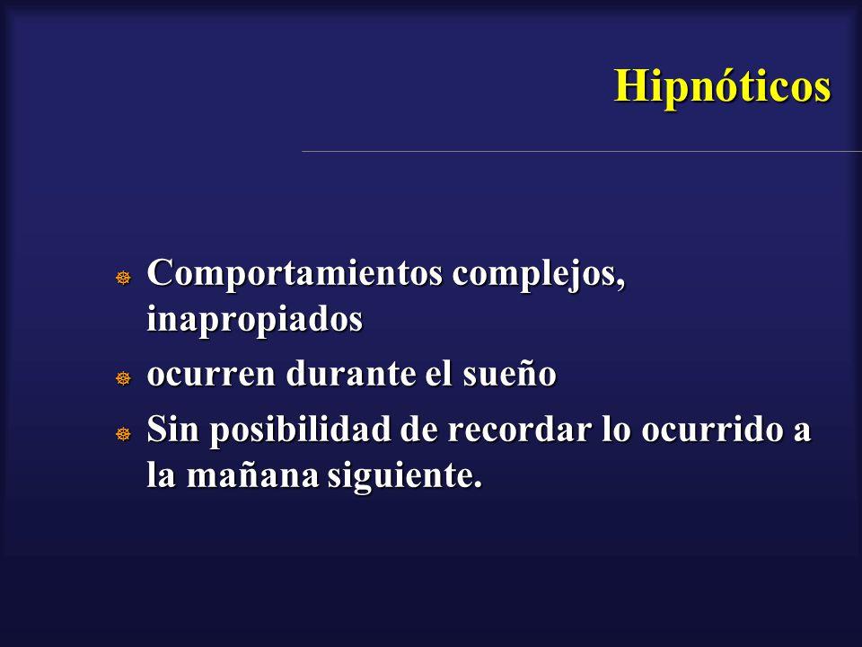 Hipnóticos Comportamientos complejos, inapropiados