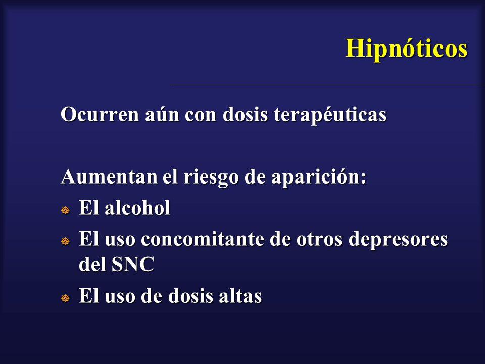 Hipnóticos Ocurren aún con dosis terapéuticas