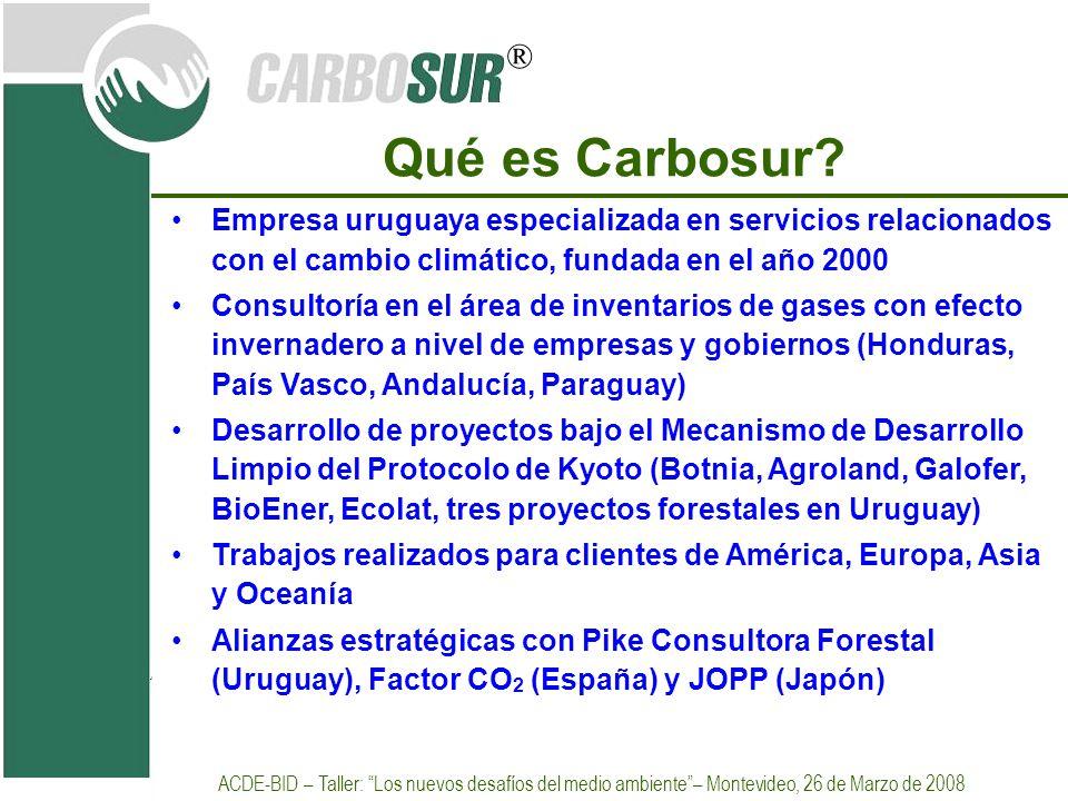 Qué es Carbosur Empresa uruguaya especializada en servicios relacionados con el cambio climático, fundada en el año 2000.