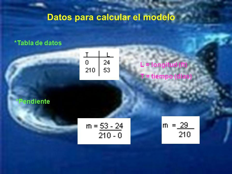 Datos para calcular el modelo