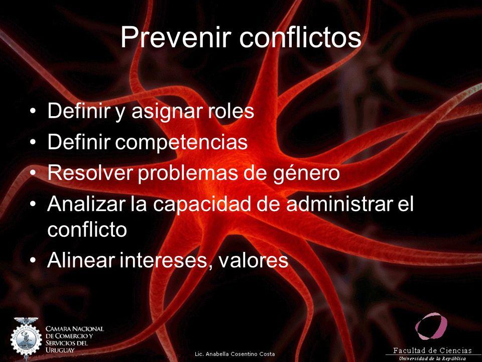 Prevenir conflictos Definir y asignar roles Definir competencias