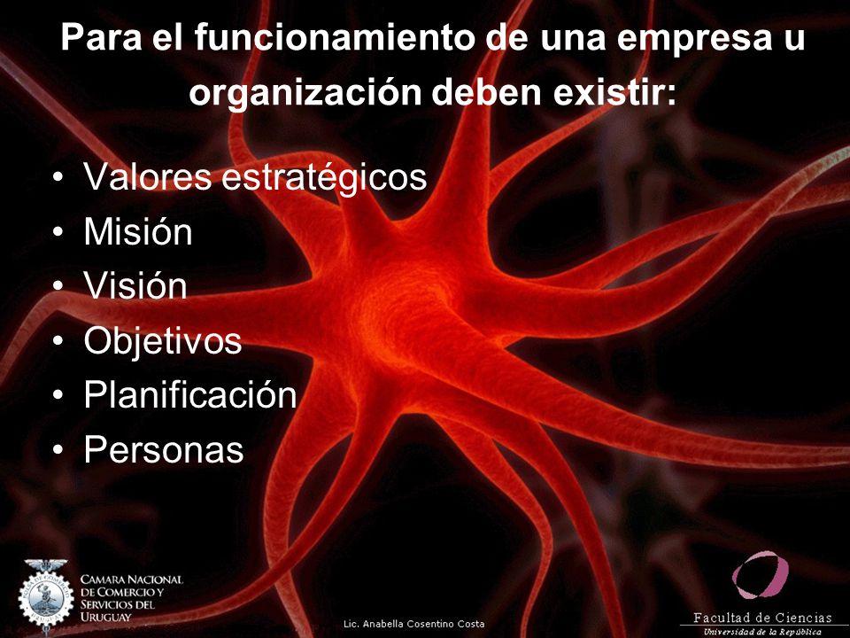 Para el funcionamiento de una empresa u organización deben existir: