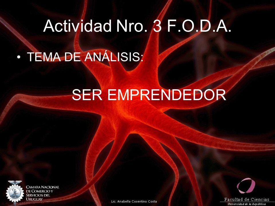 Actividad Nro. 3 F.O.D.A. TEMA DE ANÁLISIS: SER EMPRENDEDOR