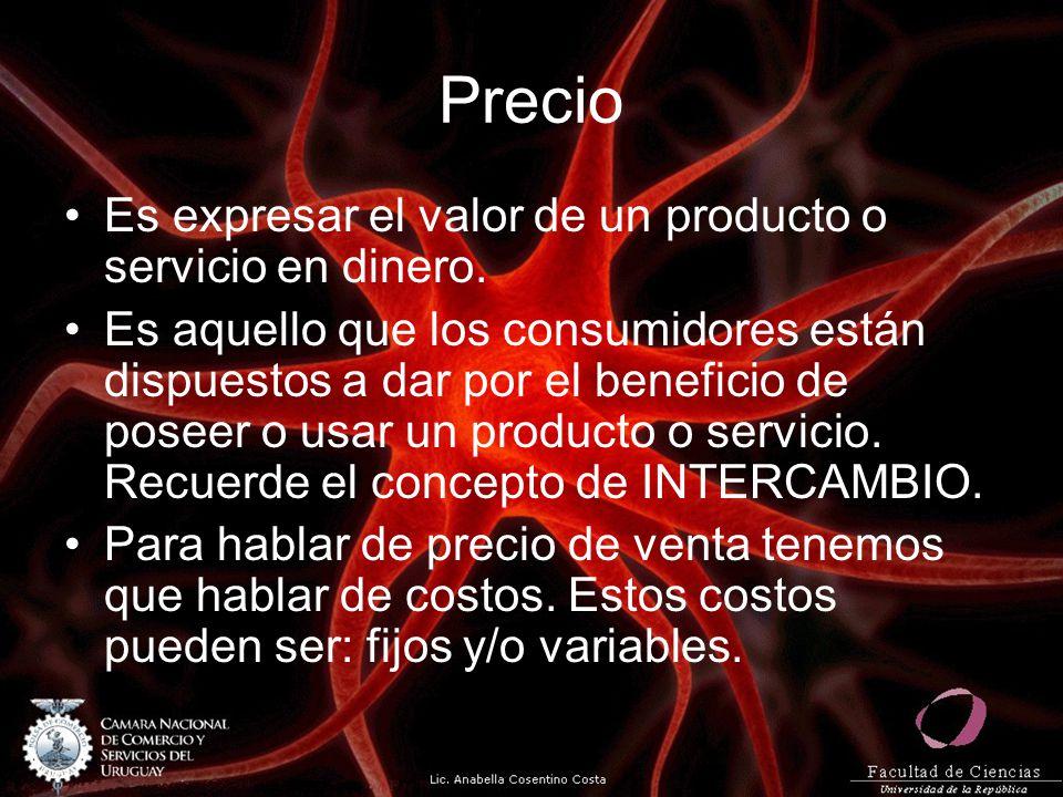 Precio Es expresar el valor de un producto o servicio en dinero.