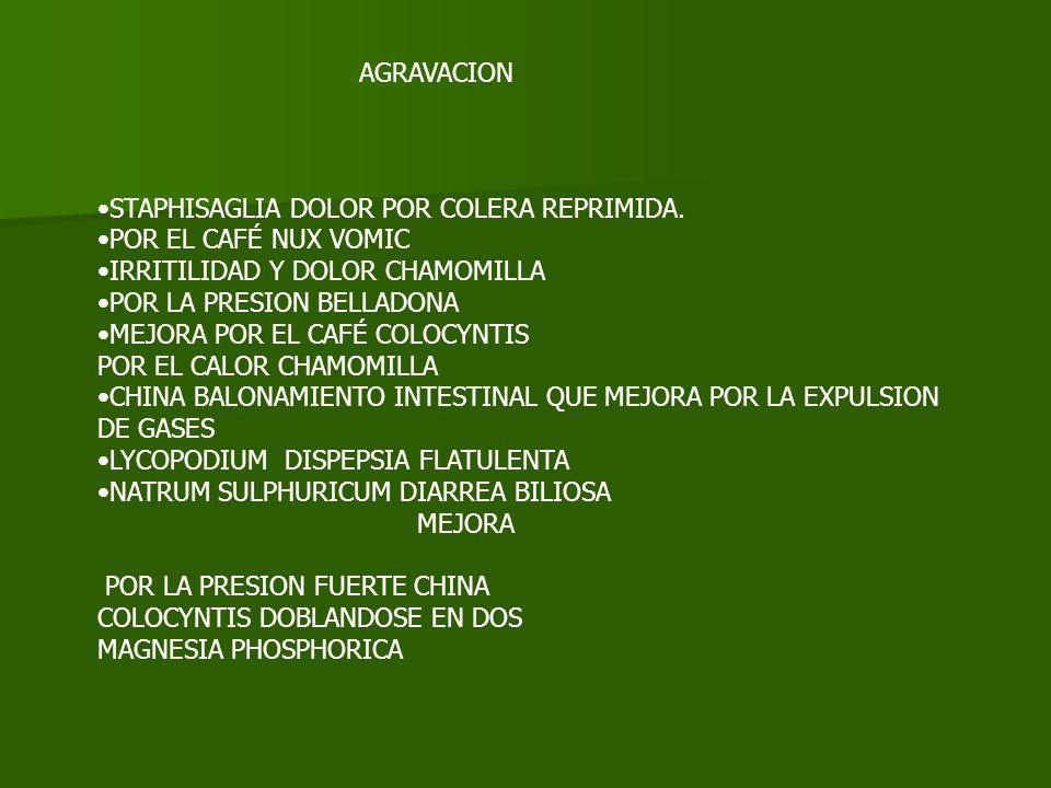 AGRAVACION STAPHISAGLIA DOLOR POR COLERA REPRIMIDA. POR EL CAFÉ NUX VOMIC. IRRITILIDAD Y DOLOR CHAMOMILLA.