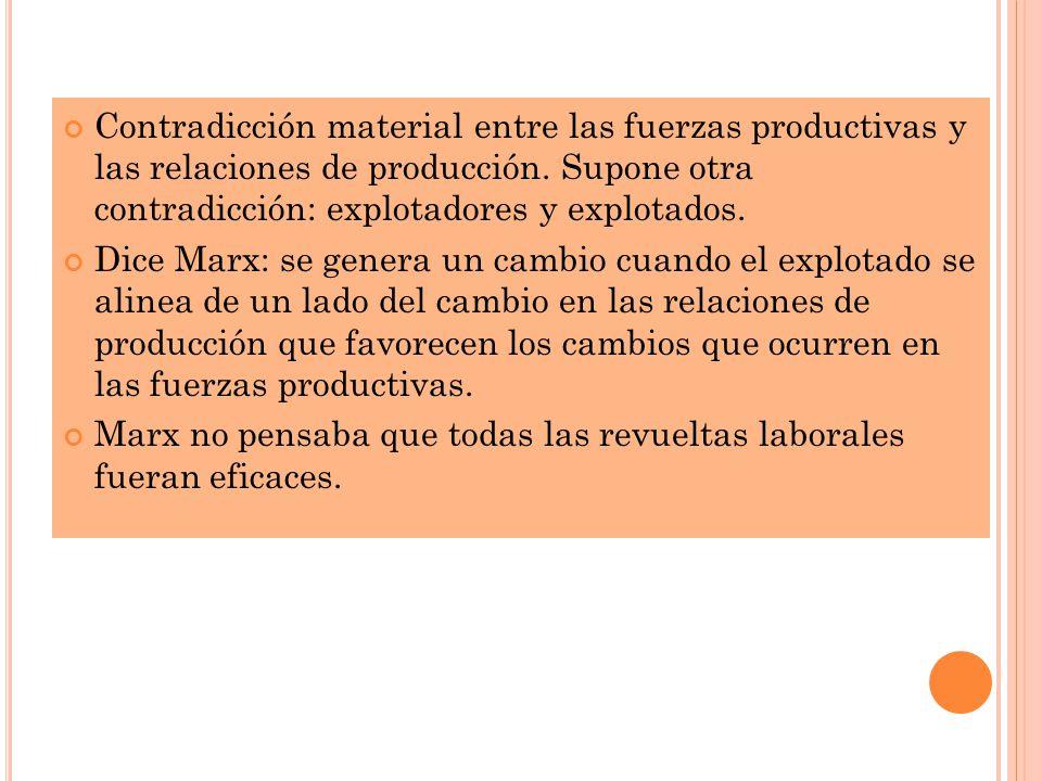 Contradicción material entre las fuerzas productivas y las relaciones de producción. Supone otra contradicción: explotadores y explotados.