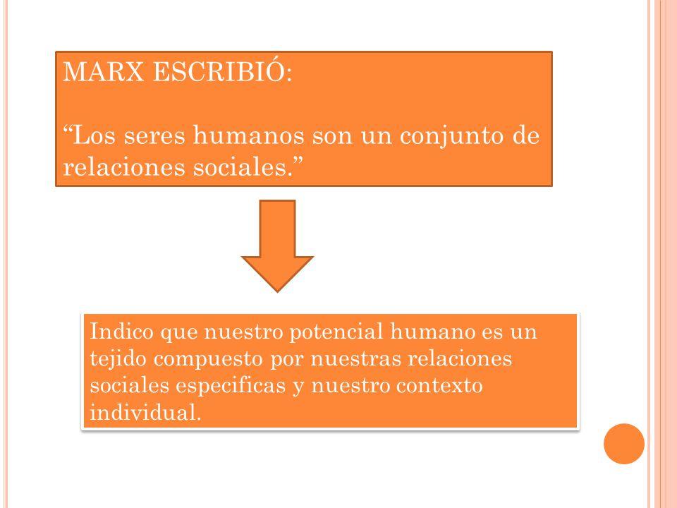 Los seres humanos son un conjunto de relaciones sociales.