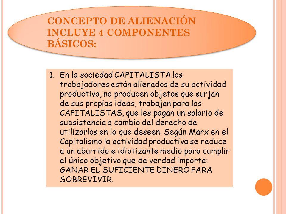 CONCEPTO DE ALIENACIÓN INCLUYE 4 COMPONENTES BÁSICOS: