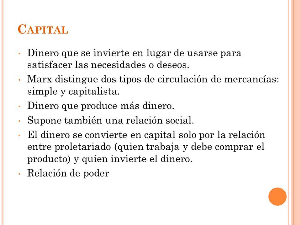 Capital Dinero que se invierte en lugar de usarse para satisfacer las necesidades o deseos.