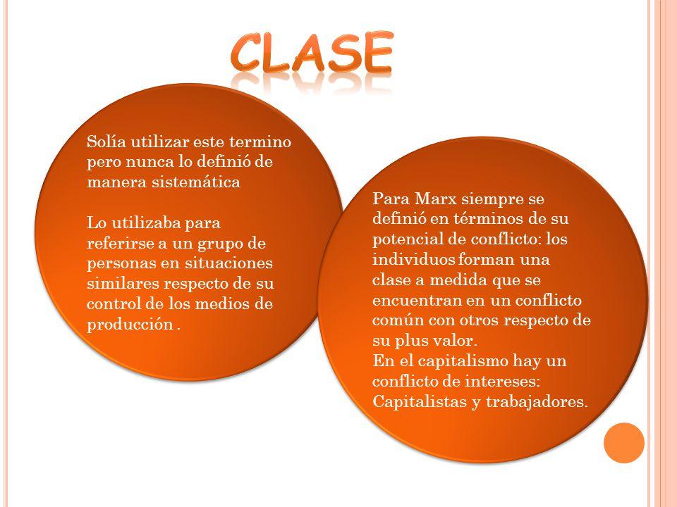 clase Solía utilizar este termino pero nunca lo definió de manera sistemática.