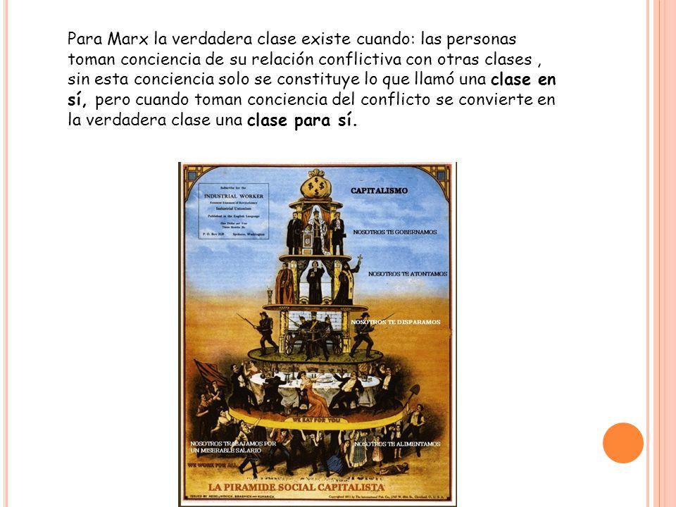 Para Marx la verdadera clase existe cuando: las personas toman conciencia de su relación conflictiva con otras clases , sin esta conciencia solo se constituye lo que llamó una clase en sí, pero cuando toman conciencia del conflicto se convierte en la verdadera clase una clase para sí.