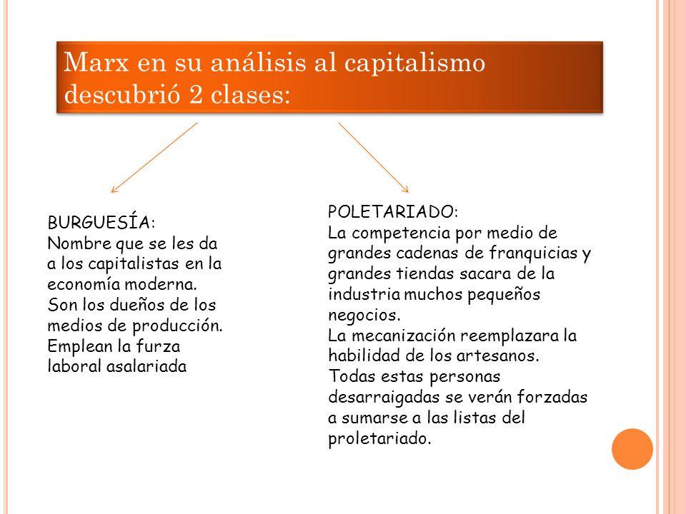Marx en su análisis al capitalismo descubrió 2 clases: