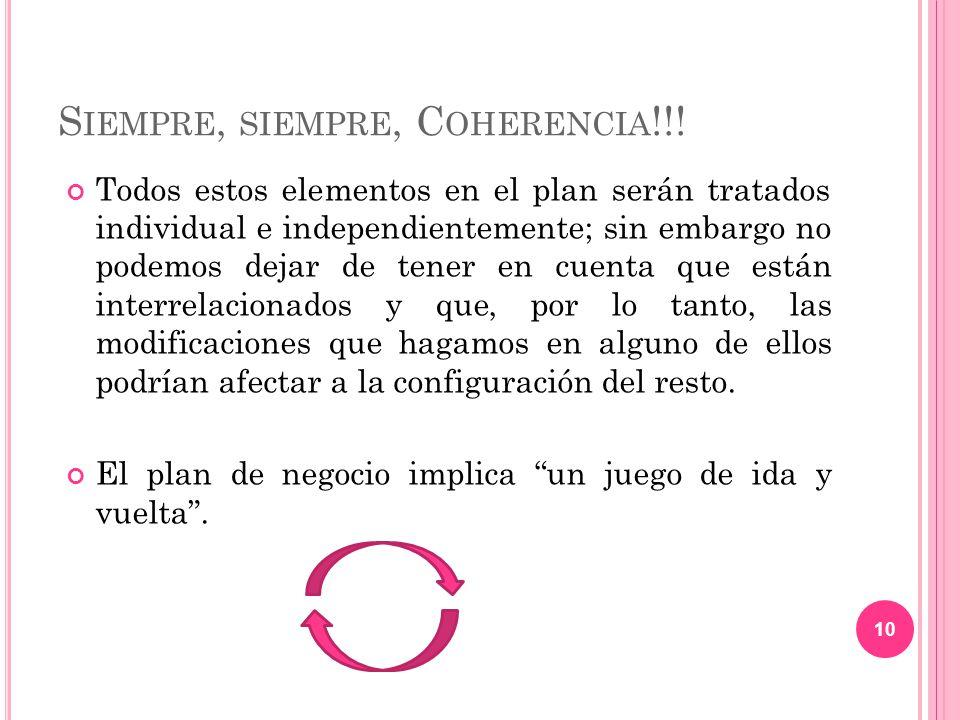 Siempre, siempre, Coherencia!!!