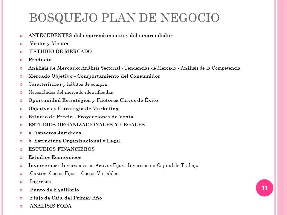 BOSQUEJO PLAN DE NEGOCIO