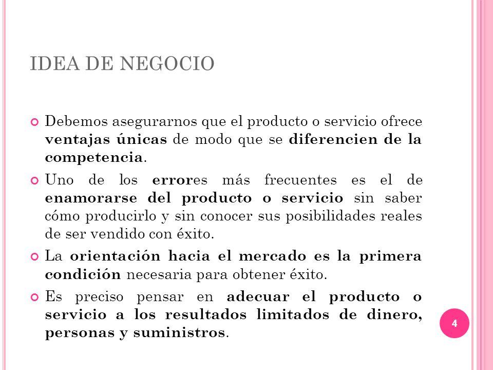 IDEA DE NEGOCIO Debemos asegurarnos que el producto o servicio ofrece ventajas únicas de modo que se diferencien de la competencia.