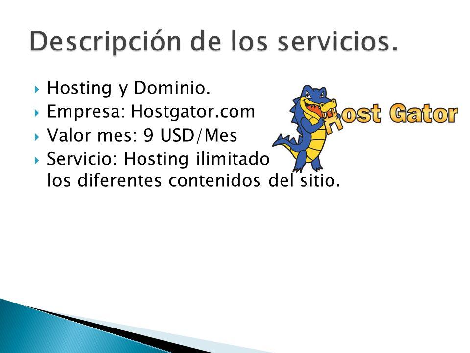 Descripción de los servicios.