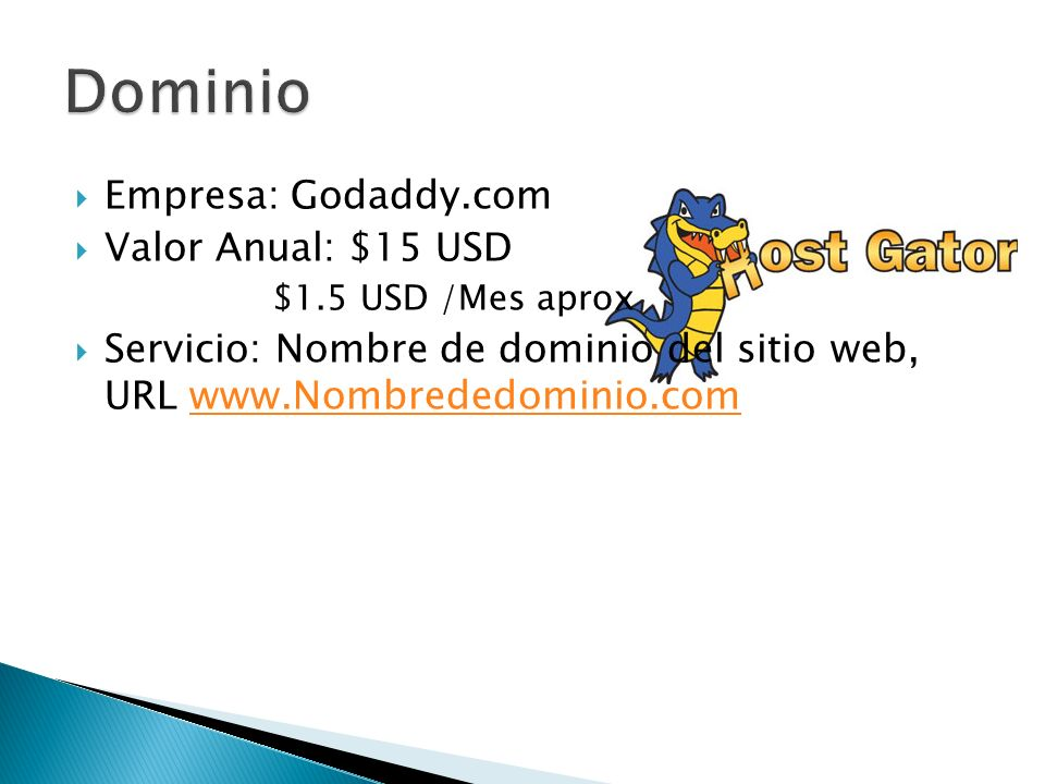 Dominio Empresa: Godaddy.com Valor Anual: $15 USD