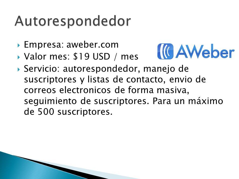 Autorespondedor Empresa: aweber.com Valor mes: $19 USD / mes