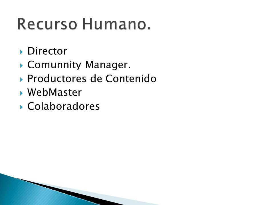 Recurso Humano. Director Comunnity Manager. Productores de Contenido
