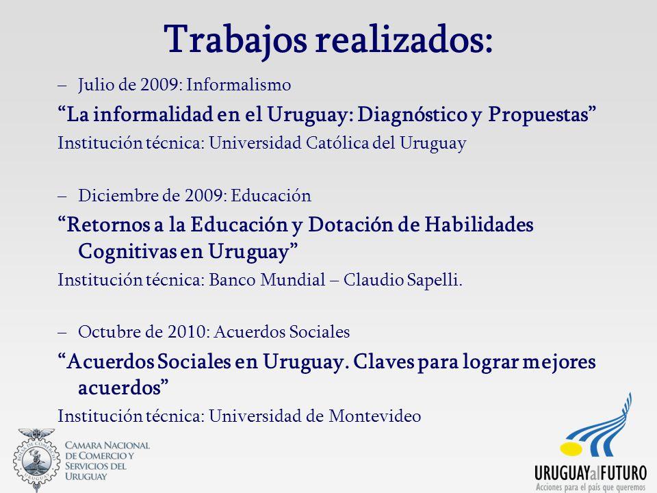Trabajos realizados: Julio de 2009: Informalismo. La informalidad en el Uruguay: Diagnóstico y Propuestas